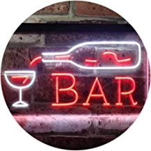 Bar Bottle Glass Display Open Home Decoration Dual Color LED Neon Sign White & Red 600 x 400mm st6s64-i3182-wr