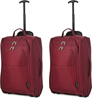 5 Cities Set Of 2 Super Lightweight Cabin Approved Travel Wheely Suitcase Wheeled Bag Luggage Set, 55 cm, 42L, Wine