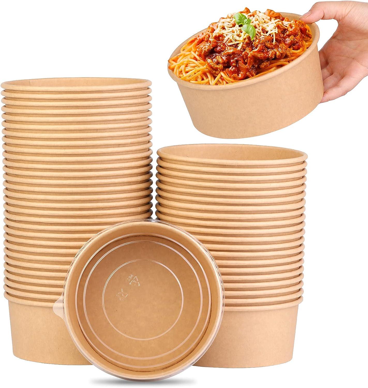 37oz 1100ml Paper Round Bowl Kraft Salad Max 60% OFF Portland Mall disposable