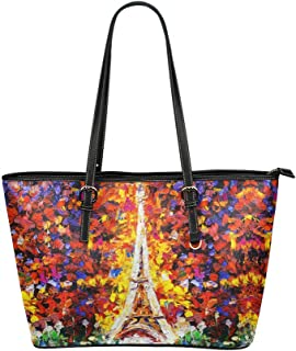 InterestPrint Fashion France Paris Tower Eiffel Leather Tote Bags Handbags with Zipper for Women