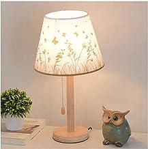 Bureaulamp Houten Nachtkastje Lamp Eenvoudige Linnen Slaapkamer Lamp Moderne Nachtlamp Met Ronde Lampenkap En Houten Basis...