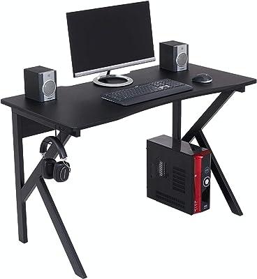 hjh OFFICE 673945 Schreibtisch mit Glasplatte 120 x 60