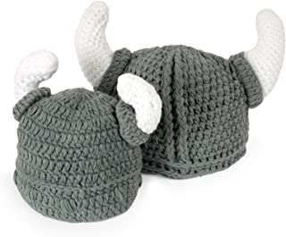 Ypser Baby Adult Viking Knit Hat Wool Bull Horn Crochet Beard Beanie Cap Handmade Knitted