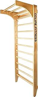 CCLIFE Ścianka gimnastyczna do wspinaczki, drewniana, sprzęt sportowy, ścianka wspinaczkowa z drążkiem, fitness, dzieci i ...