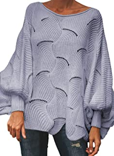 Womens Oversized Batwing Sleeve Hollow Out Knit Pullover Sweater Scallop Hem Jumper Tops