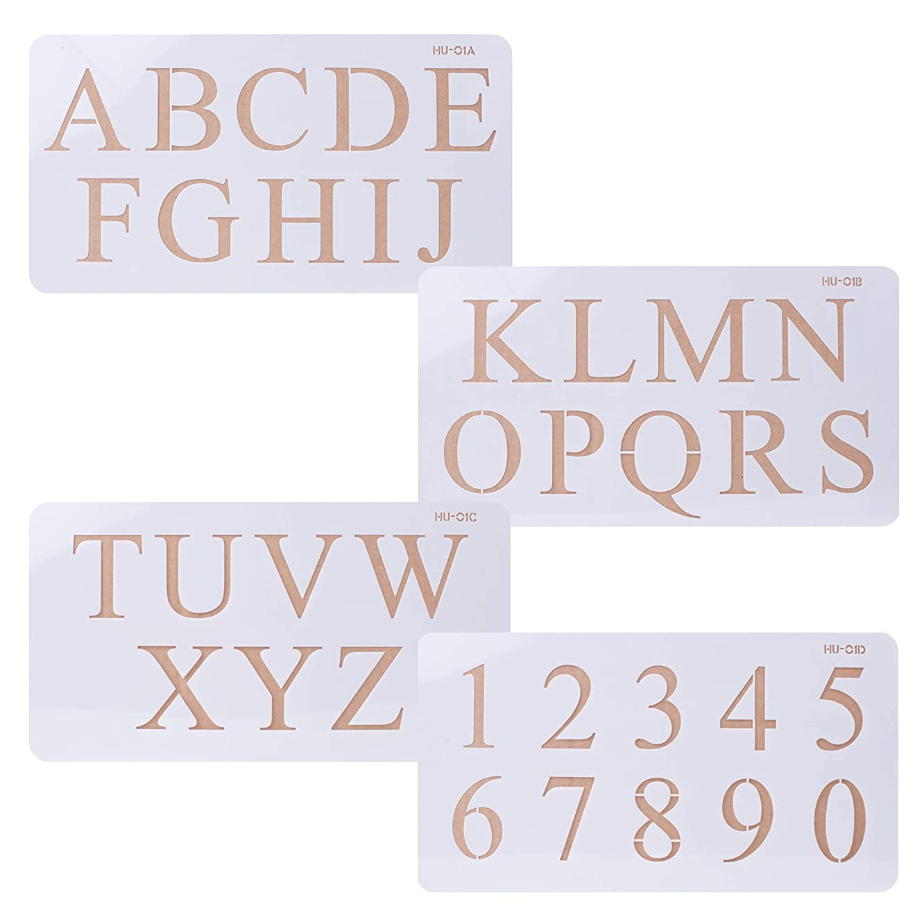 Cake Alphabet Number Acrylic Stencils 2 Inches Times New Roman Set of 4 for Cake Art Crafts Painting