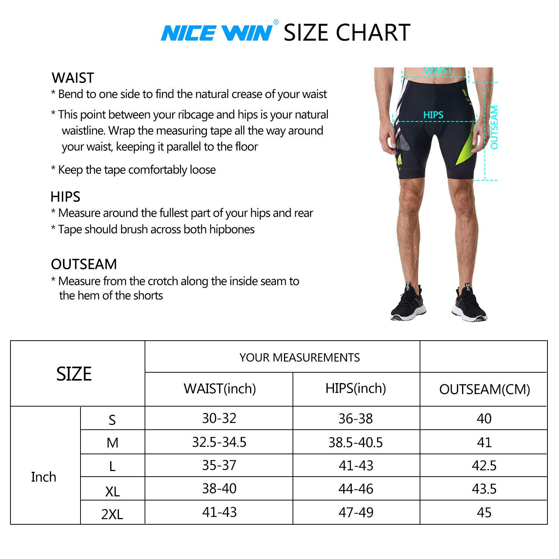 NICEWIN Men's Cycling Shorts Motorcycle Bike Riding Tights 3D Padded Quick-Dry Half Pants