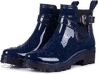 Women's Short Rain Boots Glossy Waterproof Platform Slip On Ankle Boots Elastic Chelsea Booties