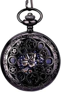 Steampunk Blue Hands Roman letters Skeleton Mechanical Pocket Watch with Chain for Men Women