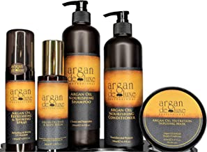 Argan deluxe 100% Pure Organic Moroccan Argan Oil Luxury Hair Care Bundle includes Shampoo, Conditioner, Shine Spray, Hydrating Mask, Hair Body Serum- Restores Shine and Softness-For all hair types