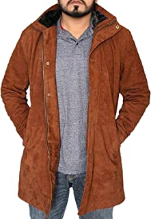 Superhero Long Brown Suede Leather Jacket Coat