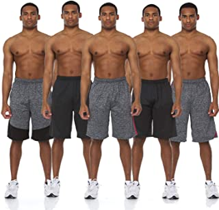5 Pack: Men's Active Performance Quick-Dry Athletic Stretch Drawstring Basketball Gym Knit Shorts with Pockets