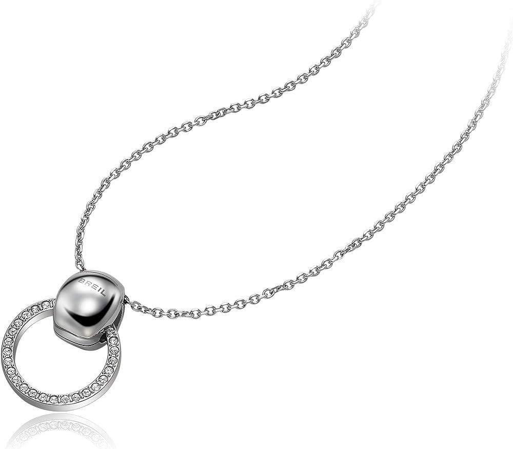 Breil pendente da donna in acciaio colorato misura big con con pietre TJ1684