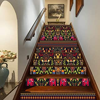 Eastern Staircase Stickers,Traditional Pattern Colorful Paisley Border Floral Details Elephants Tribal Artwork Decorative Self-Adhesive Wall Stair Stickers Mural Wallpaper for Home Decor,39.3