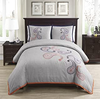 KBed 3pc Naomi Paisley Embroidered Duvet Cover Set Queen (Button Closure Corner Ties)