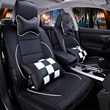 Sunluway 11PCS Universal PU Leather Front and Rear Car Seat Cushion Cover Seat Pad Protectors with Health Care Pillows for Year-Round Use (Airbag Compatible)