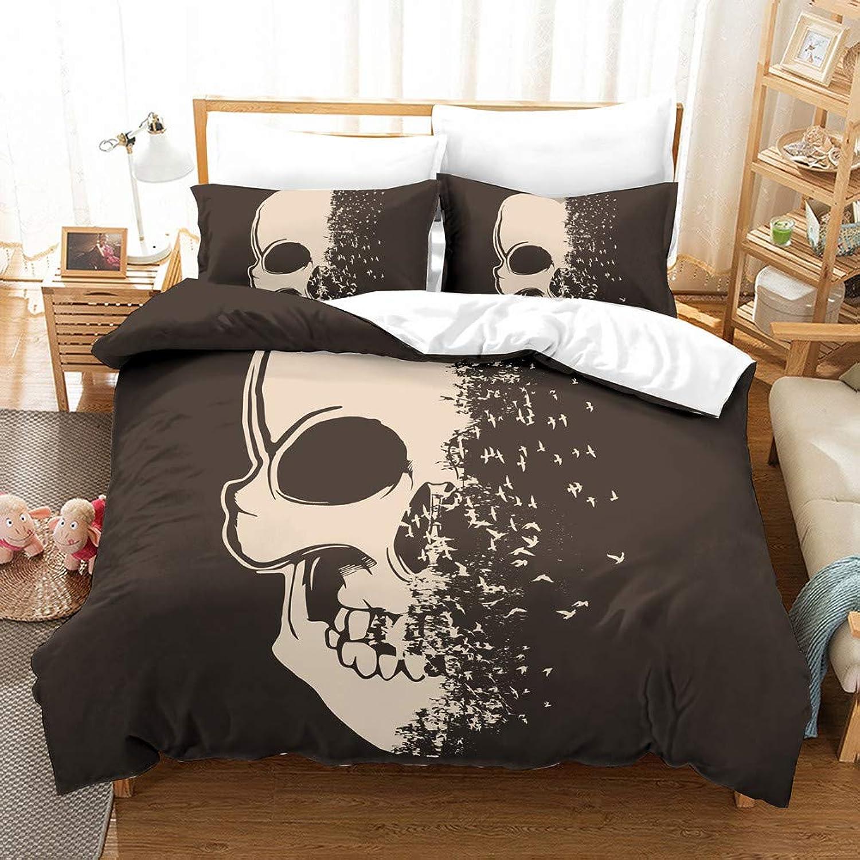 EastElegant Brushed Microfiber Duvet Cover Set Skeleton Digital Printing 3 Pieces Bedding Set