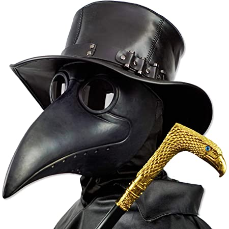 PartyCostume Steampunk Maschera Becco Maschera Halloween Steampunk Costume Dottore Maschera di Cuoio Elaborazione Maschera Intera Masquerade Mask(Nero)
