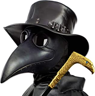 Plague Doctor Mask, Black Bird Beak Steampunk Gas Costume, for Kid and Adult