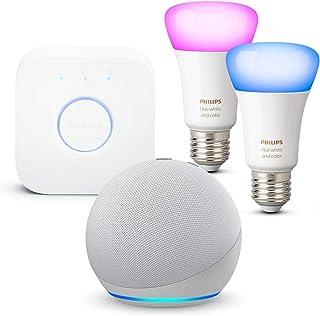 Echo Dot (4ª generazione), Bianco ghiaccio + Philips Hue Color Starter Kit 2 Lampadine Smart (E27), compatibile con Alexa