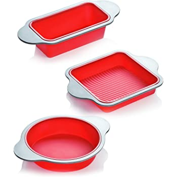 Silicone Bakeware Set | 3-Piece Professional Non-Stick Silicone Baking Set by Boxiki Kitchen | Includes Round Cake Mold Pan, Square Cake Mold Pan, Bread Loaf Mold Pan