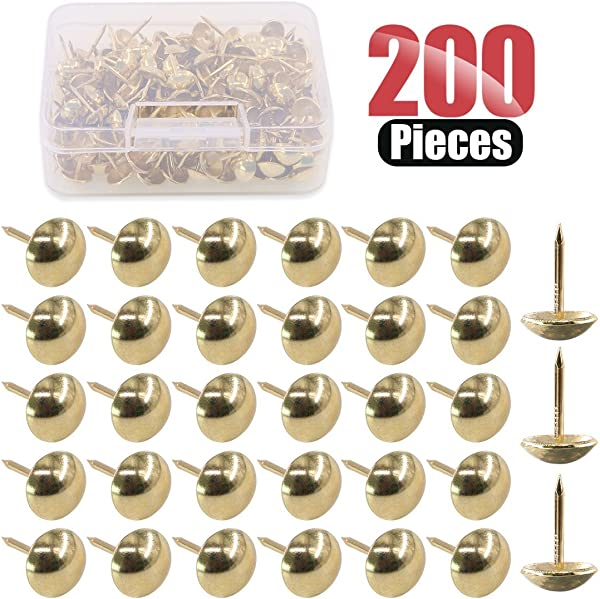 Hilitchi 200 Pieces 7 16 11mm Antique Upholstery Nails Tacks Furniture Tacks Upholstery Tacks Thumb Tack Push Pins Assortment Kit Gold