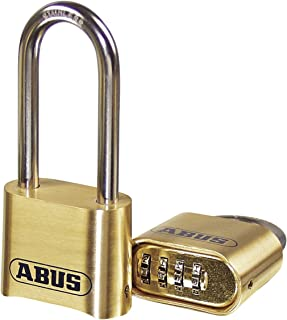 ABUS 180/50 Solid Brass Combination Padlock - Long Stainless Steel Shackle (2-1/2