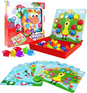 Animal Cherislpy Art Toddler Game,Peg Puzzle Educational Toy,Color Matching Mosaic Pegboard Early Learning Educational Toys for Boys /& Girls