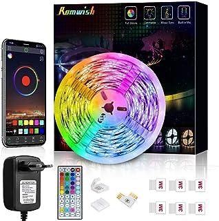 Tiras LED 5M, Romwish 5050 SMD RGB LEDs con Control Remoto de 44 Botones & Control Bluetooth, para la Habitación, Dormitor...