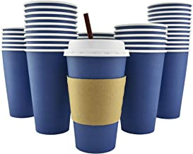 100 Pack - 16 Oz [12 Oz] [4 Colors] Disposable Hot Paper Coffee Cups, Lids, Sleeves, Stirring Straws - Deep Blue
