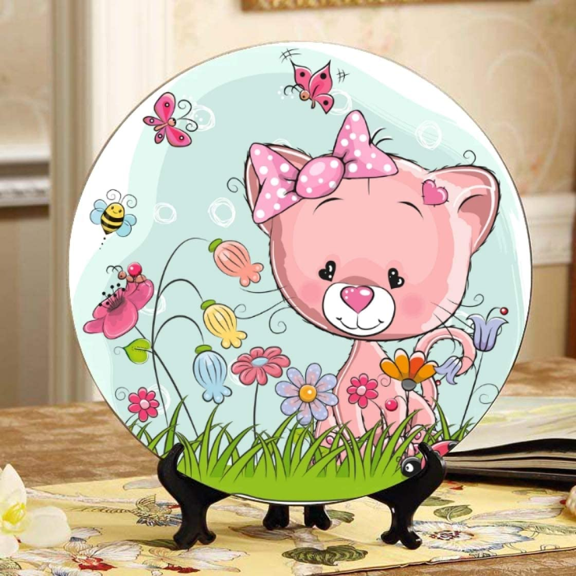 Popular standard Cute Cartoon Animal On A Free shipping Meadow Decorat Ceramic Childrens Plates