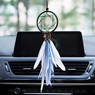 Dream Catchers Car Interior Rearview Pendant,Dreamcatcher Bag Charm Handmade Feather Dream Catcher Car Charm with Argent Stars for Wall Hanging Decoration White &Blue