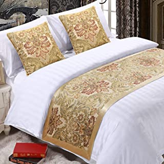 EMME Golden Royal Bed Runner Scarf Bedding Protector Luxury Jacquard Weave Slipcover with Satin Hemming High Precision Table Runner Bed Decorative Scarf for Bedroom Hotel Wedding Room (King/Cal. King)