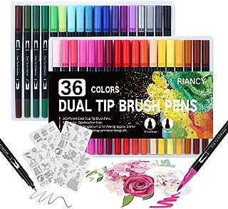 Stylo Feutre Coloriage, 36 Coloriage Pinceaux Brush Pen, aquarelle double pointe avec pinceau et pointe fine avec 4 pcs mo...