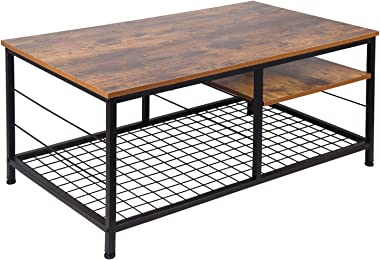 Leopard Coffee Table with Adjustable Shelf, Industrial Coffee Table with Metal Legs for Living Room, Home Office Coffee Table with Adjustable Storage Shelf (Rustic Brown)