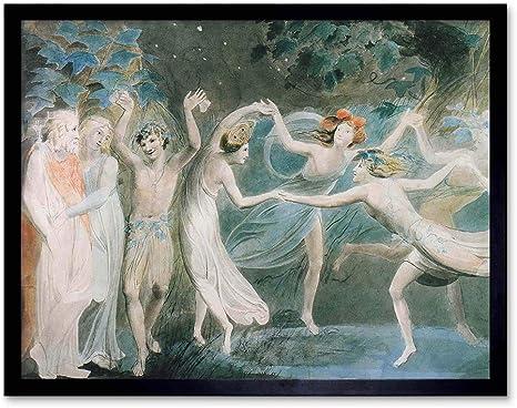 WILLIAM BLAKE OBERON TITANIA PUCK WITH FAIRIES DANCING FRAMED ART PRINT B12X2273