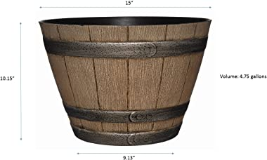 """Classic Home and Garden 70 Whiskey Barrel, 15""""-""""Home, Distressed Oak"""