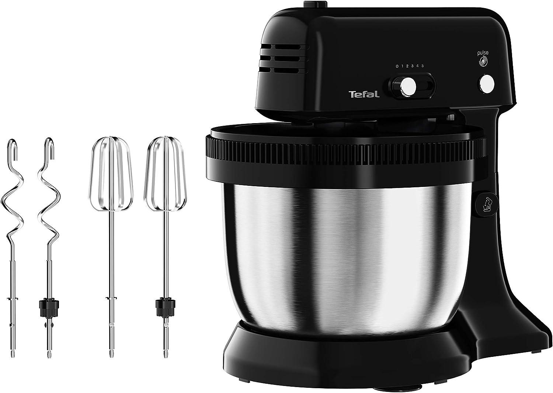 Tefal Robot de cocina Oh My Cake QB1108, 300 W, mezclador satélite, cuenco de acero inoxidable de 4 l, tamaño compacto, 5 velocidades, incluye 2 batidores y 2 ganchos para amasar, color negro
