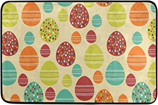 JSTEL Nonslip Door Mat Home Decor, Vintage Colorful Easter Eggs Durable Indoor Outdoor Entrance Doormat 23.6 X 15.7 Inches