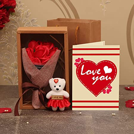 TIED RIBBONS Artificial Rose Flowers, Teddy with Message, Carry Bag and Greeting Card (Multicolour, 1 Bouquet, 1 Teddy with Message, 1 Carry Bag, 1 Greeting Card)