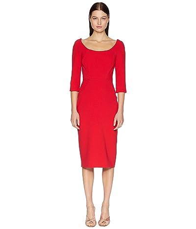 Zac Posen Long Sleeve Bonded Crepe Dress (Cranberry) Women