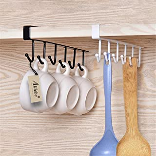 Alliebe 2pcs Mug Cups Wine Glasses Storage Hooks Kitchen Utensil Ties Belts and Scarf Hanging Hook Rack Holder Under Cabinet Closet Without Drilling