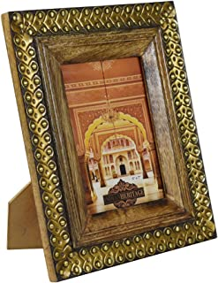 Indian Heritage Wooden Photo Frame 5x7 Mango Wood with Metal Cladding Design in Dark Wood Finish