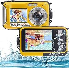 دوربین زیر آب Full HD 2.7K 48MP دوربین ضد آب برای غواصی با صفحه نمایش دوگانه دوربین ضد آب دیجیتال با تایمر خودکار و بزرگنمایی دیجیتال 16X (زرد)