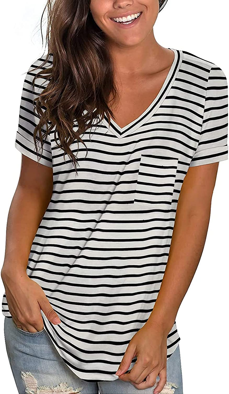 Ladybranch Women's V Neck Short Sleeve Shirts Summer Loose Casual T-Shirts