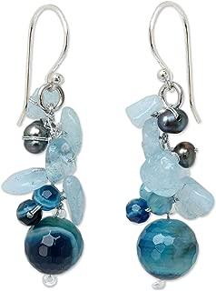 NOVICA Multi-gem Dyed Cultured Freshwater Pearl Sterling Silver Beaded Dangle Earrings, Azure Love'