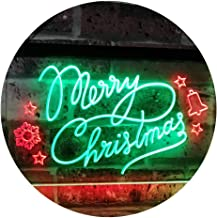 Merry Christmas Tree Star Bell Display Home Décor Dual Color LED Neon Sign Green & Red 400 x 300mm st6s43-j2038-gr