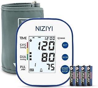 Monitor de presión arterial, NIZIYI Máquina digital de presión arterial para brazo superior para uso doméstico Máquina de manguito Monitor automático de pulso de frecuencia cardíaca