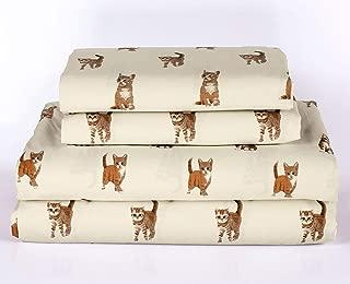 HowPlumb Cat Kitten Queen Size 4 Piece Sheet Set Microfiber Bedding, Orange Tabby Kitty Pet Animal Lover Gift