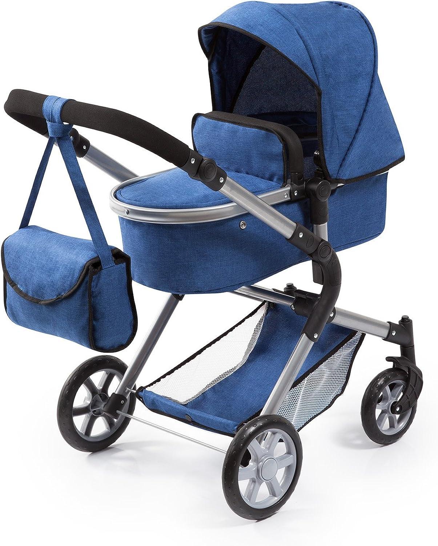 Bayer Design 18135AA Puppenwagen City Neo mit Wickeltasche und Einkaufskorb, umwandelbar in einen Sportwagen, hhenverstellbar, Blau